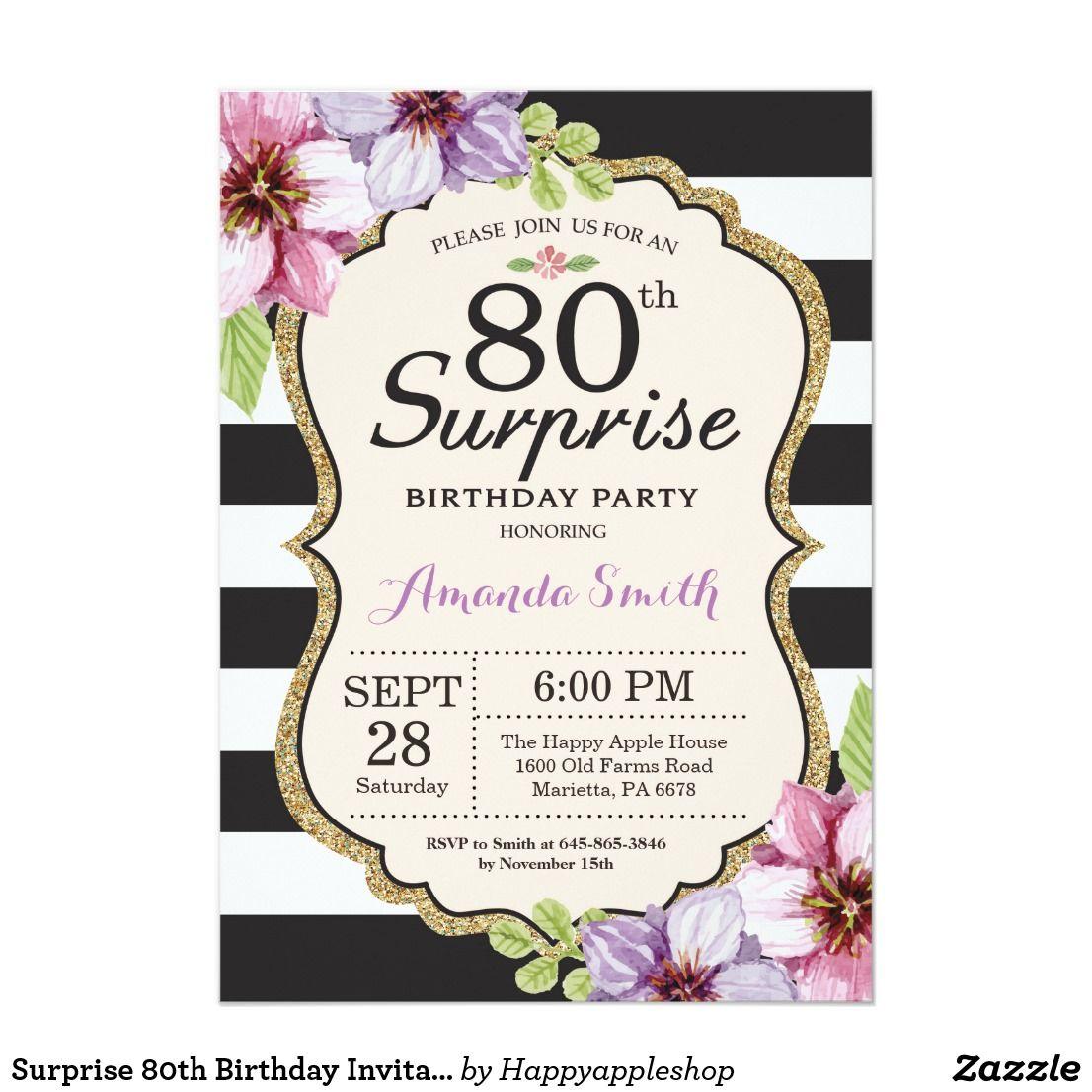 Surprise 80th Birthday Invitation Women Floral Birthday