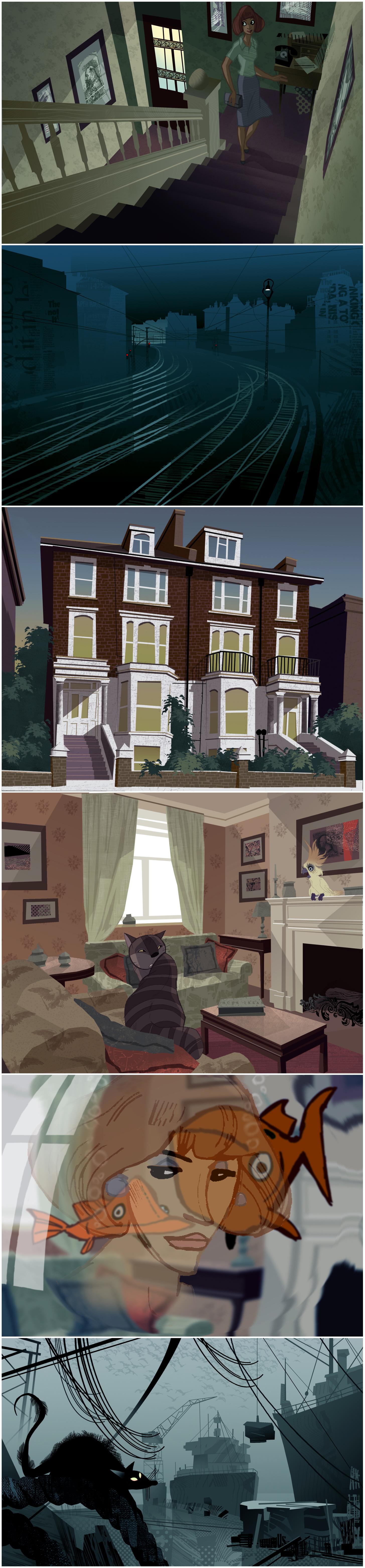 "Hans Bacher: environment concept art for abandoned Disney project ""Fraidy Cat"""