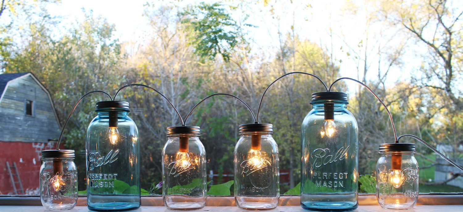 Banner mason jar lights modern industrial rustic farmhouse string banner mason jar lights modern industrial rustic farmhouse string party lights handrcrafted upcycled bootsngus lighting fixture via etsy arubaitofo Images