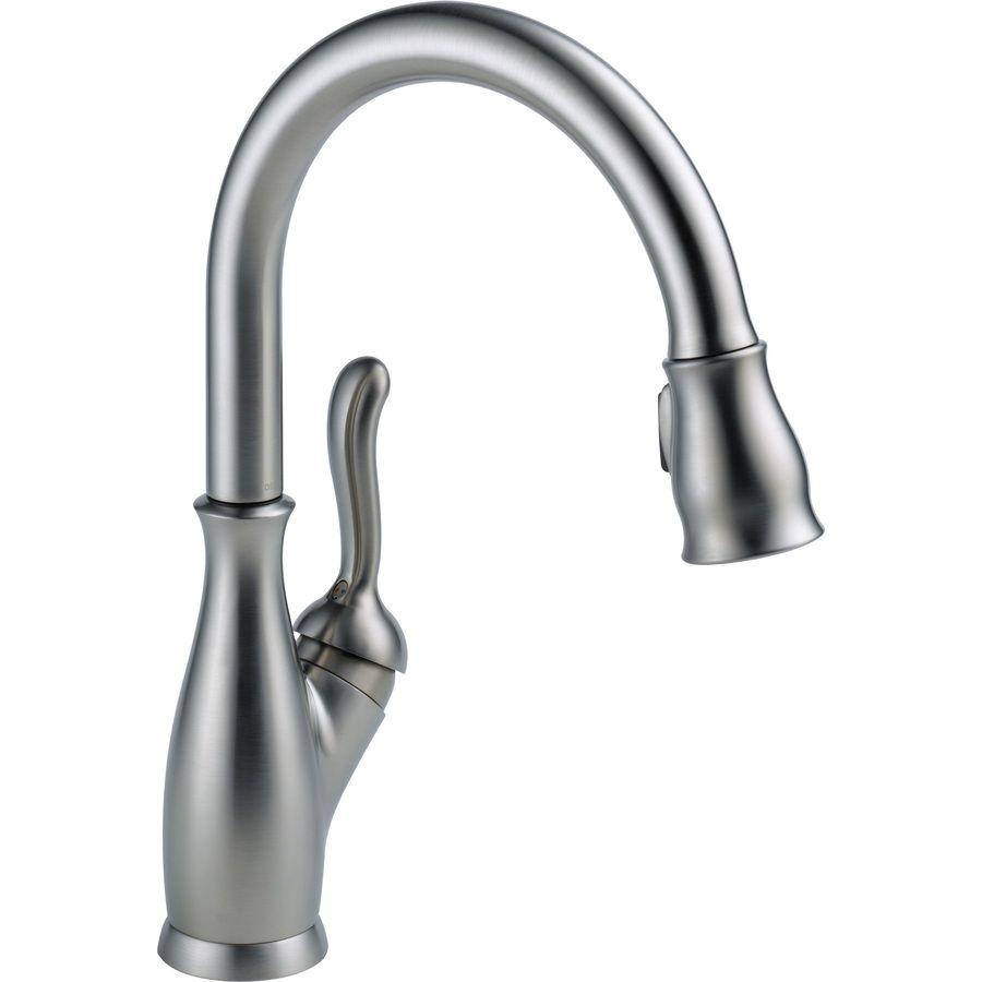 Delta collins white handle lowarc deck mount kitchen faucet