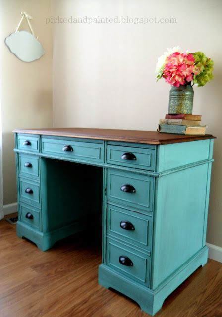 the color is winter surf by behr and i used a black glaze on desk color ideas id=68652
