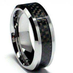 Tungsten Carbide Men's Ladies Unisex Ring Wedding Band 8MM (5/16 inch) Flat Step Carbon Fiber Band Comfort Fit