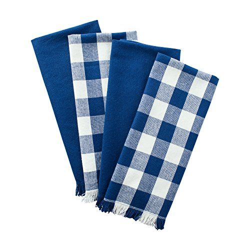 DII Cotton Checker Fringed Dish Towels 18 x 28 Set of 4 Absorbent Heavyweight Woven Kitchen Towels for Drying and Cleaning DishesNavy Blue * Details can be found by clicking on the image. #KitchenHomeDecor