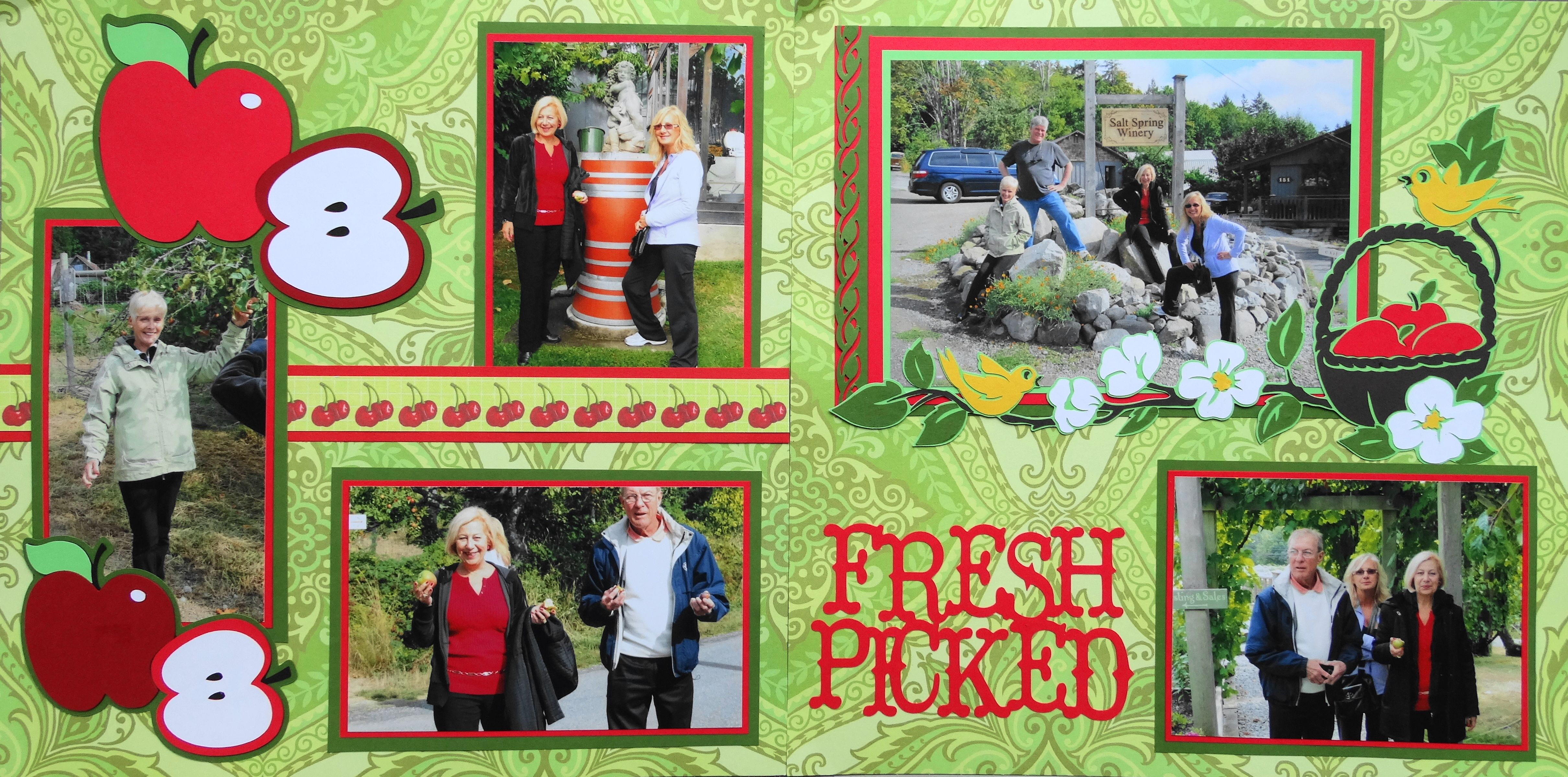 How to scrapbook a road trip - Scrapbook Page Fresh Picked Apples 2 Page Road Trip Layout With An Apple Basket