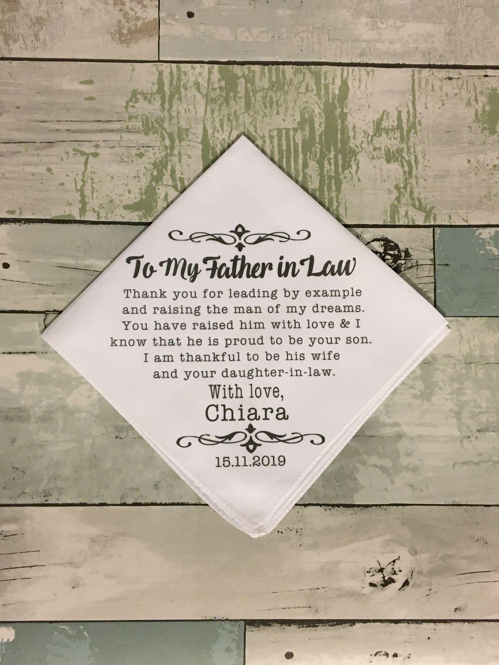 Father In Law Wedding Present Father Of The Groom Gift Customized Wedding Day Handkerchief Gift From Bride To Father In Law Wedding Gift In 2020 Father In Law Gifts Wedding Gifts For Groom Wedding Day