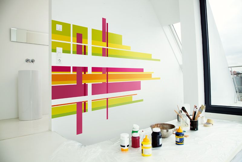 Como pintar rayas en la pared verticales buscar con - Paredes pintadas con rayas ...