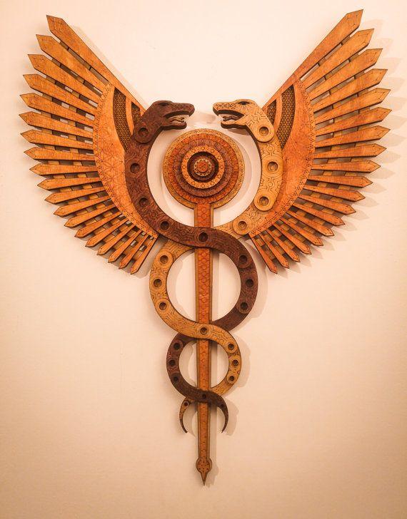 Caduceus Healing Staff Snakes Wings Hermes Multi Layer Laser