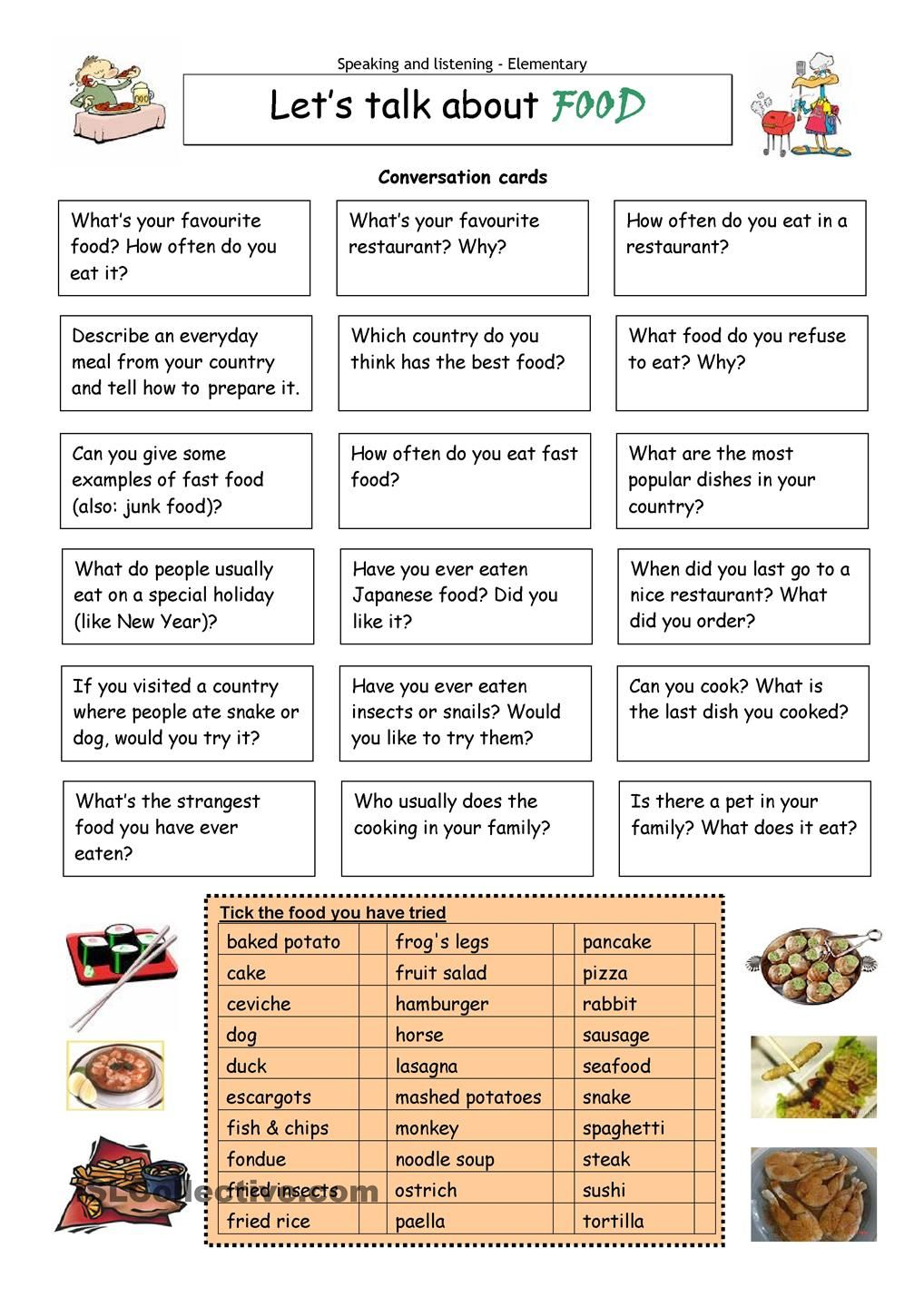 Talking about food Conversational English, Conversation Cards, Conversation  Questions, English Conversation Learning,