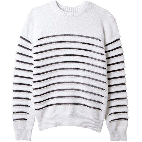 Sweater striped mesh in acrylic