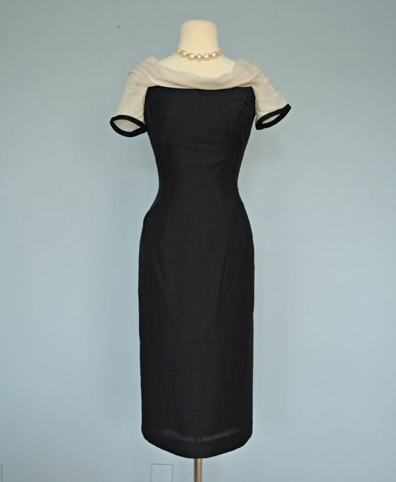 1960s Little Black Dress. Midnight Black Silk Look Cocktail Dress.
