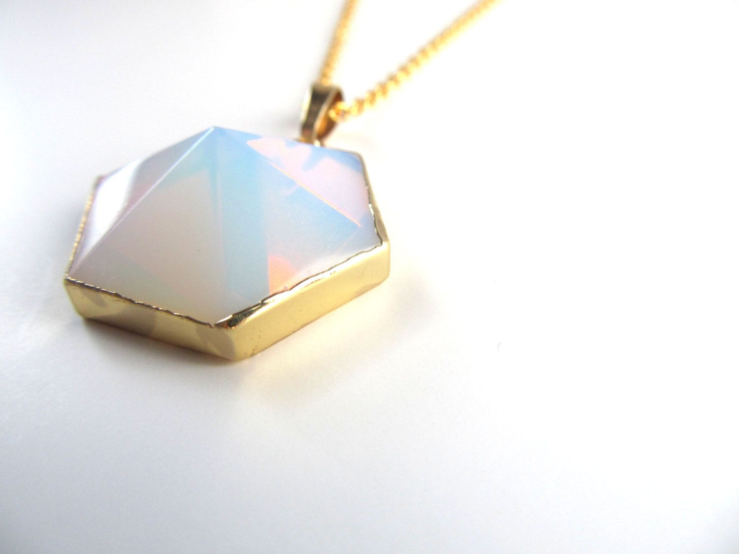 Opalite Necklace - Hexagon Pyramid Pendant - Boho Jewelry - Gold and Opalite Necklace - Layering Necklace - Unique Minimalist Necklace - pinned by pin4etsy.com