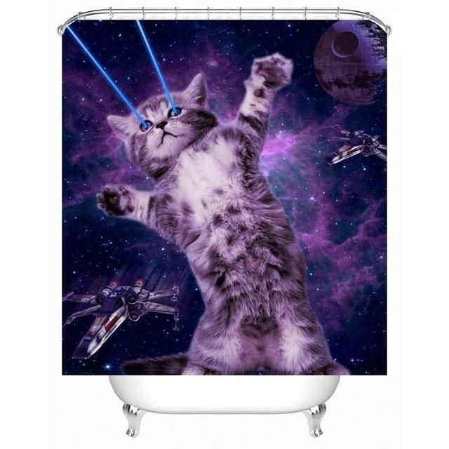 Funny Pizza Cat Shower Curtain