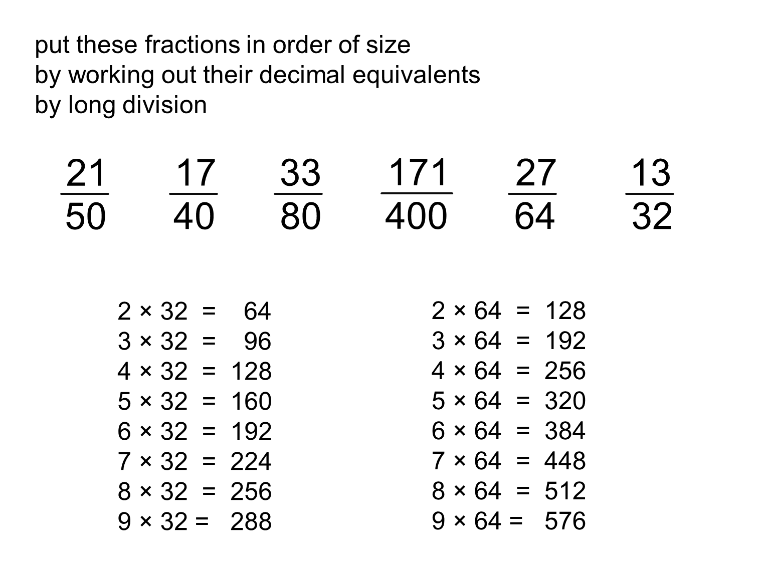 fraction to decimal w/ long division, including inquiry to