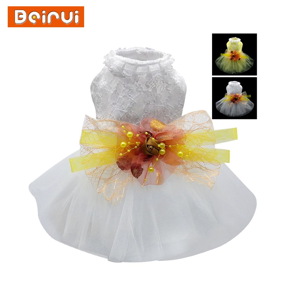 Lace dog dress princess embroidered pet wedding dresses bowknot lace dog dress princess embroidered pet wedding dresses bowknot floral tutu skirt for small pets dogs ombrellifo Image collections
