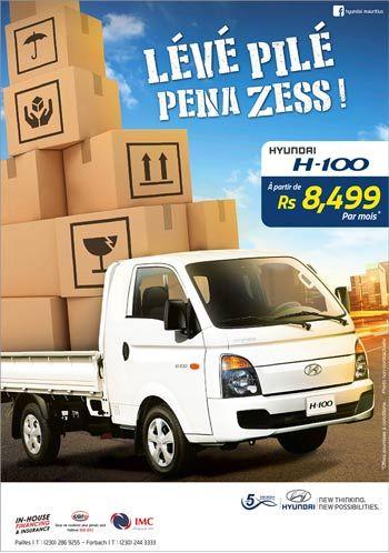 IMC: Hyundai H100 - À partir de Rs 8,499* par mois ! Tél: 286 9255