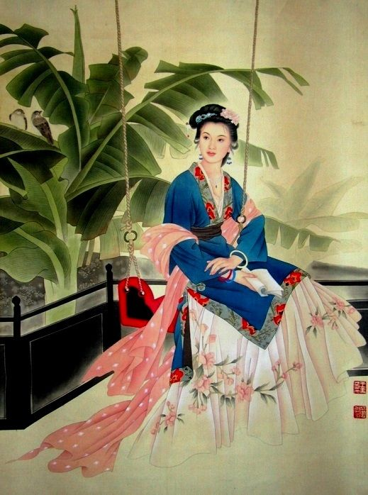 Image result for Chinese Painting woman swing