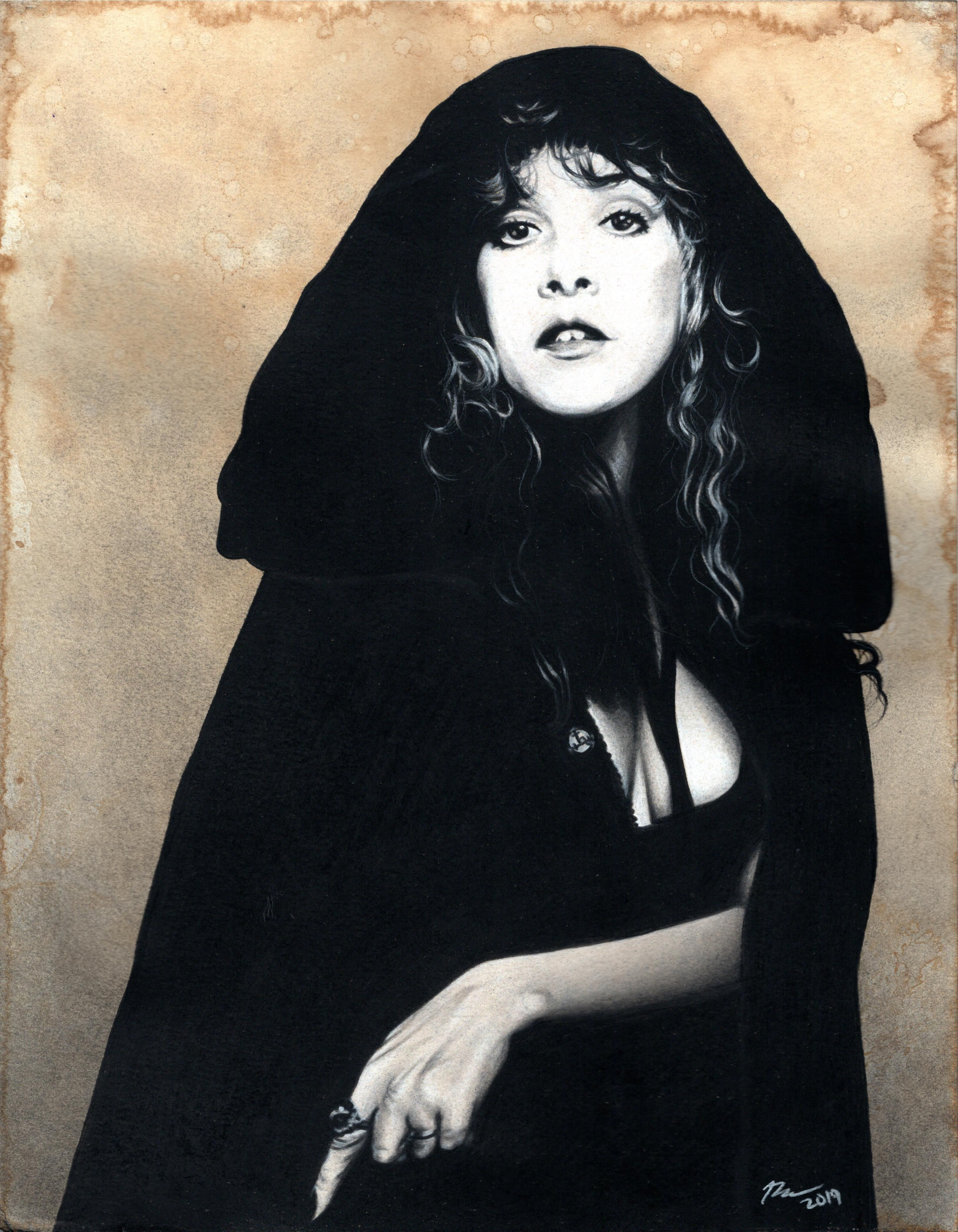 I Have Been Wanting To Draw A Witchy Stevie Nicks For Awhile Now And I Finally Did 11x14 Inches Charcoal On Coffee S Charcoal Drawing Drawings Stevie Nicks