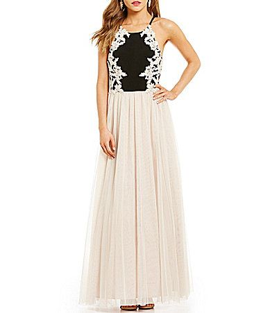 bf14690957c Blondie Nites EmbroideredBodice Color Block Ball Gown  Dillards ...