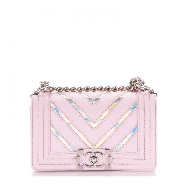 a2af7bafe565 CHANEL Lambskin Iridescent PVC Chevron Quilted Small Boy Flap Light... ❤  liked on