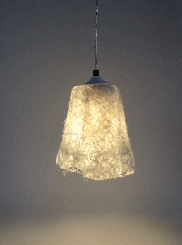 Handfelted lampshade pendant light lamp white hanging lamp