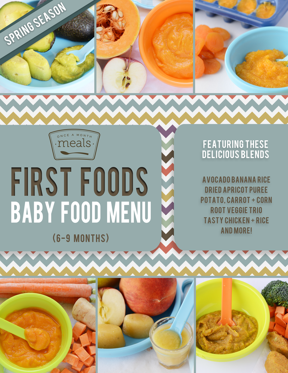 First Foods  Months Spring Baby Food Menu  Food Menu Babies