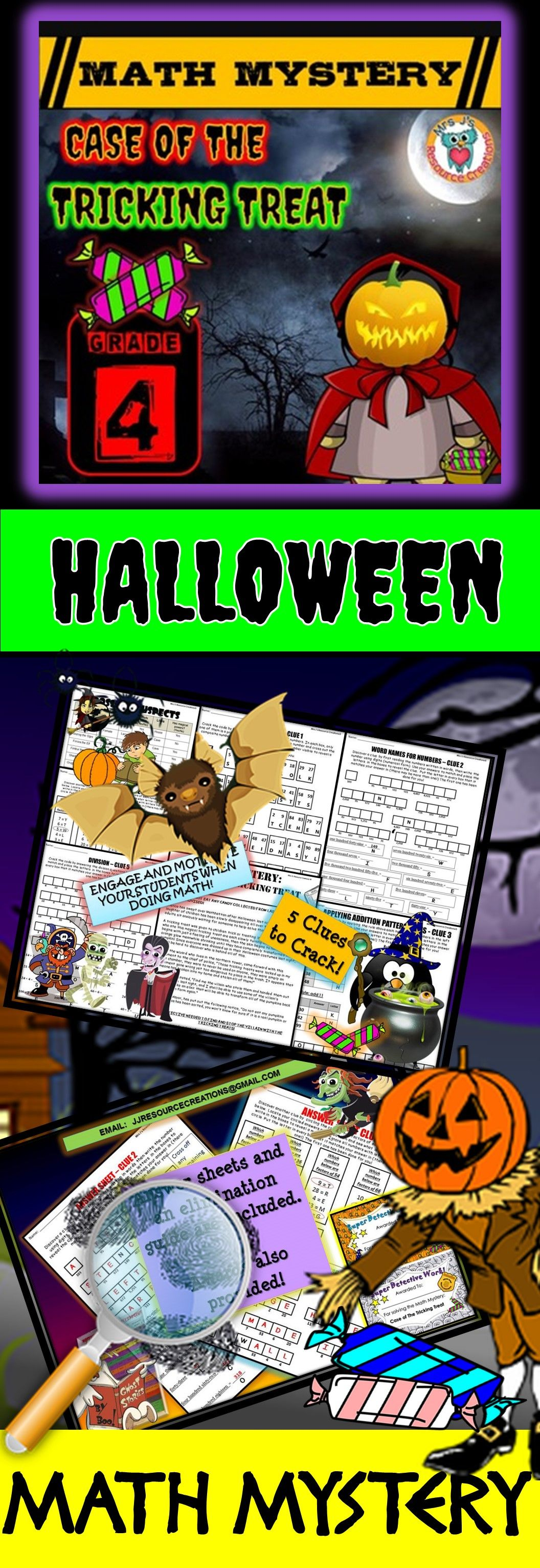 4th Grade Halloween Math Activity Halloween Math Mystery