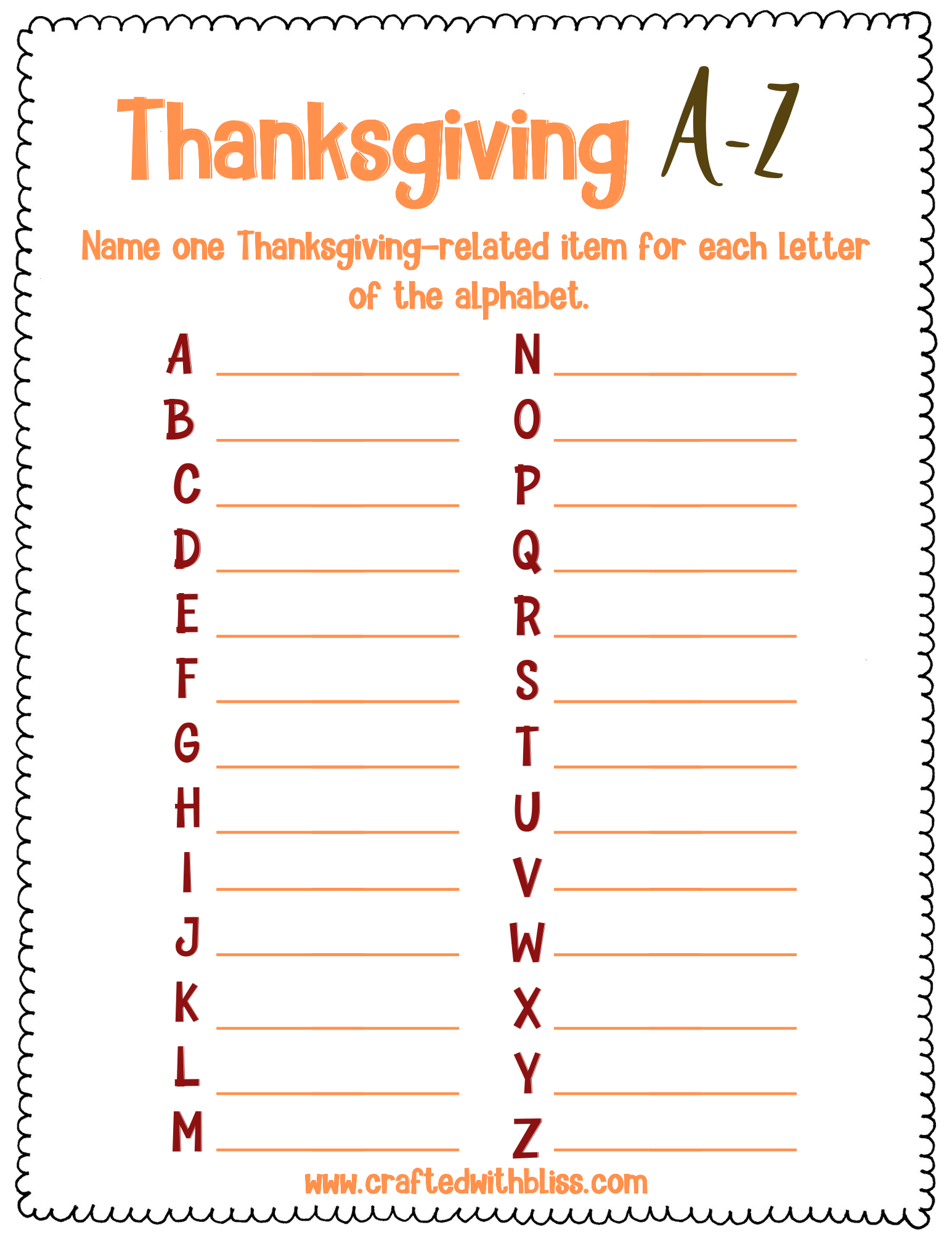 Thanksgiving Activities Thanksgiving A Z Game Thanksgiving Etsy In 2020 Thanksgiving Activities Thanksgiving Coloring Pages Free Thanksgiving Printables
