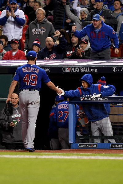 c356073d625 Jake Arrieta  49 of the Chicago Cubs walks back to the dugout against the  Cleveland Indians in Game Two of the 2016 World Series at Progressive Field  on ...