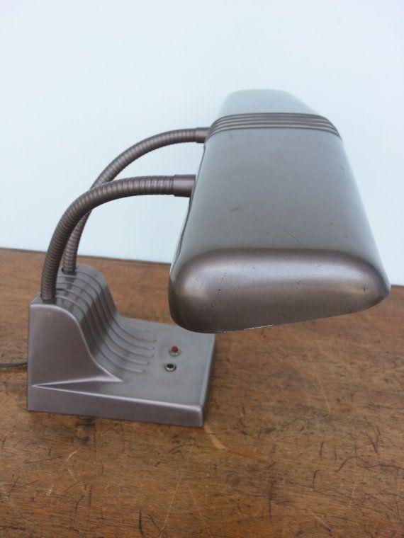 Industrial Desk Lamp Vintage Double Gooseneck Dazor Bronze Retro