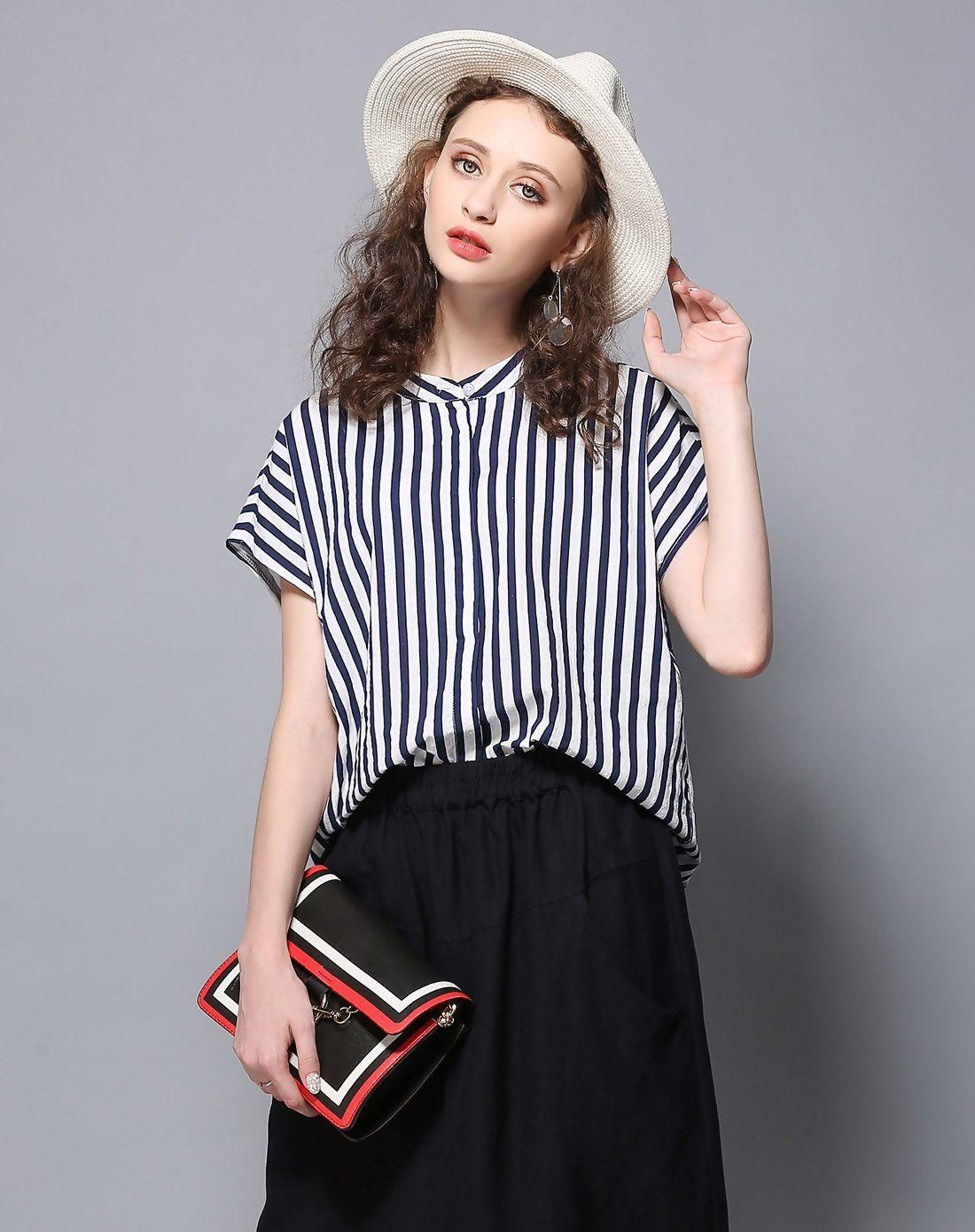 #VIPme (VIPSHOP Global) - #LETDIOSTO Dark Blue Stripes Stand Collar Short Sleeve Loose Women's Shirt - AdoreWe.com