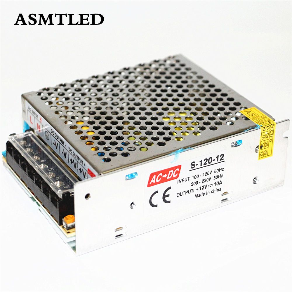 Asmtled 1pcs 12v 10a 120w 110v 220v Lighting Transformers High Quality Led Driver For Led Strip 2835 3528 5050 5630 Power Supply Led Drivers Led Strip Led