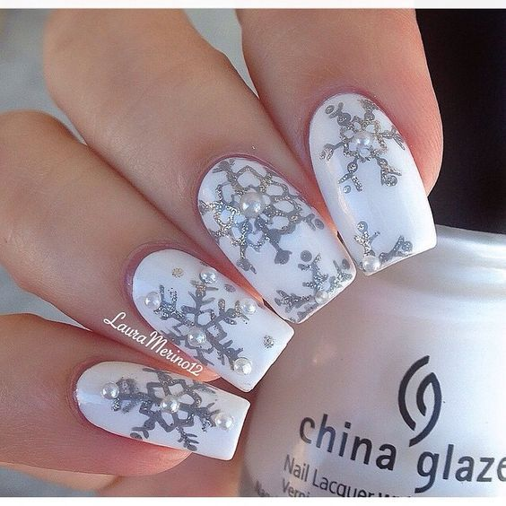 Winter nails - 37 ideas | Elegant nail art, Glitter nail designs and ...