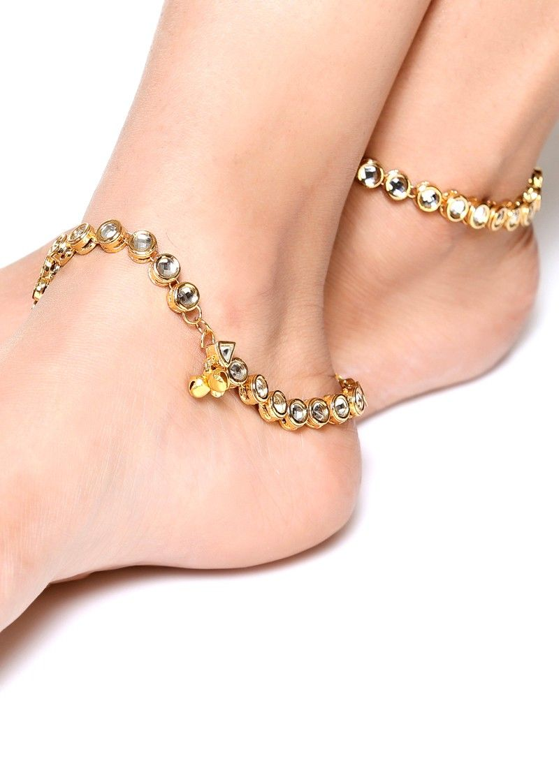 Elegant Pair Of Gold Plated Anklets