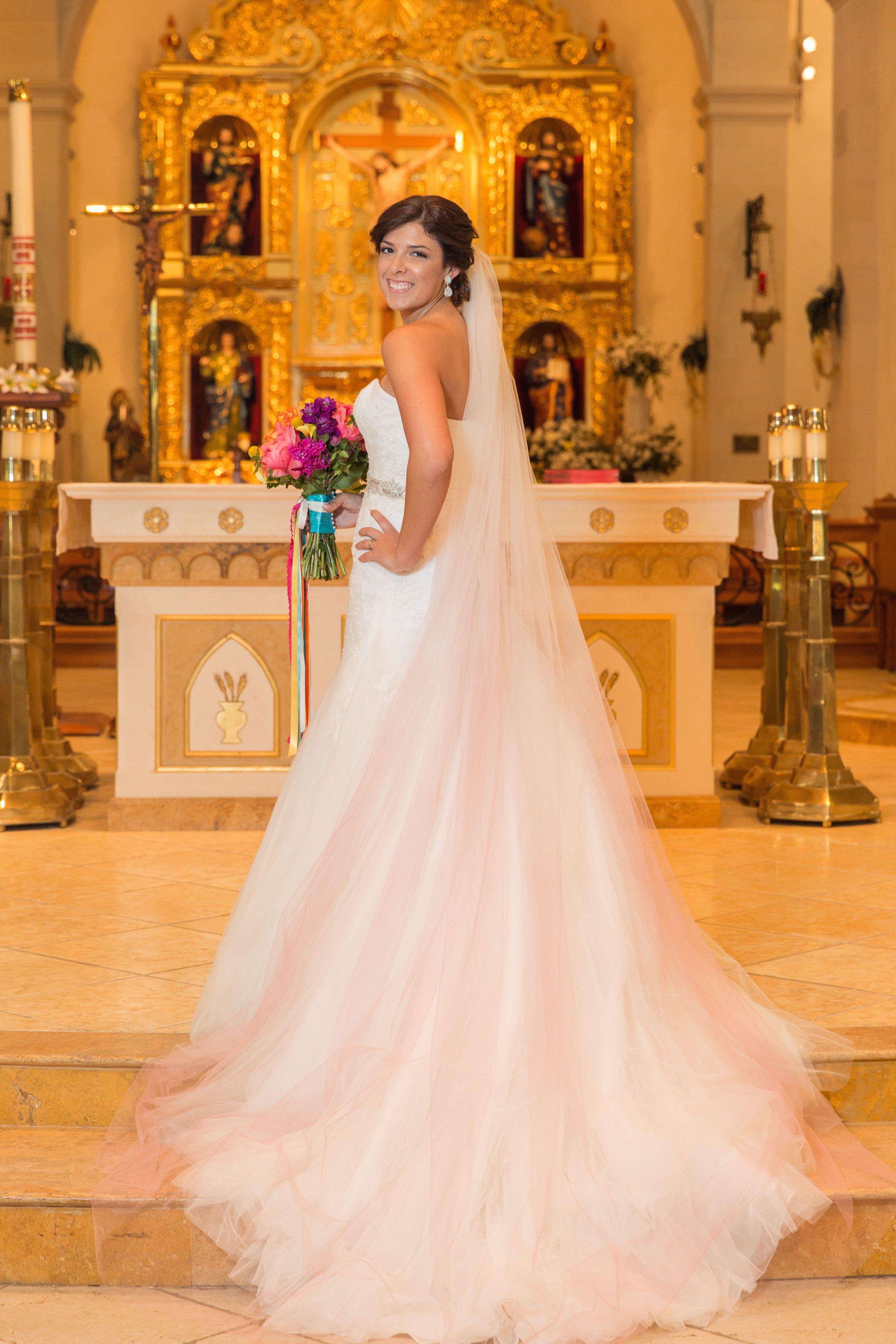 San Fernando Cathedral Wedding, Enzoani Bridal Gown, Ombre Veil, San ...
