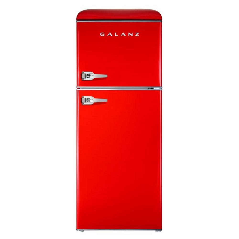 Galanz 4 6 Cu Ft Retro Mini Fridge With Dual Door True Freezer In Red Glr46trder The Home Depot Retro Fridge Retro Refrigerator True Freezer