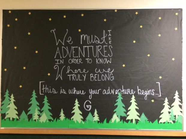 (Welcome- Fall 2015) Camping Bulletin Board #fallbulletinboards