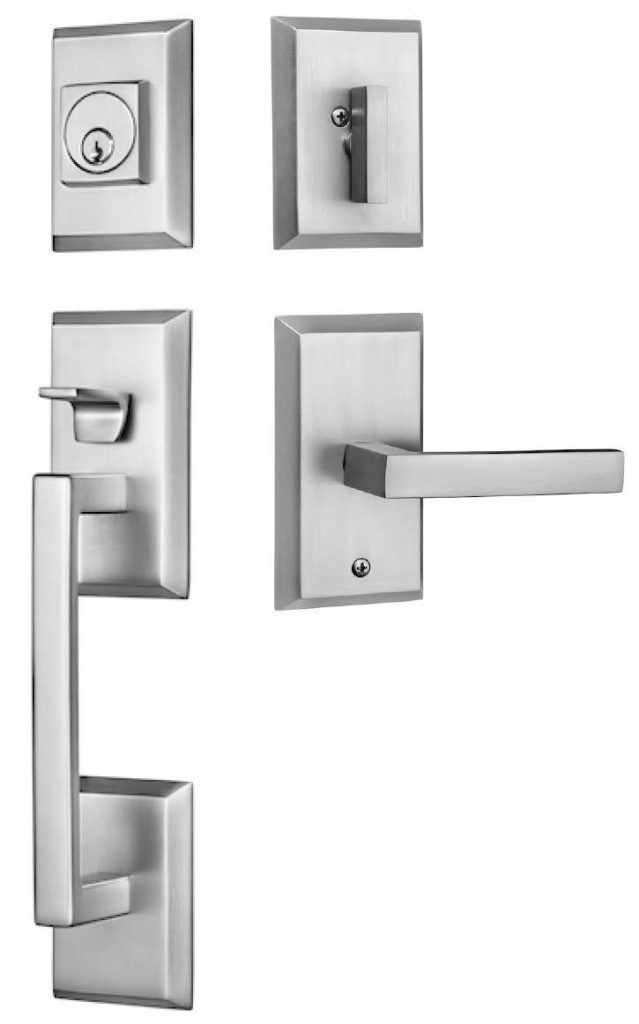 Rockwell Premium Zenia Handle Set With Delta Lever In A Brushed Nickel Finish