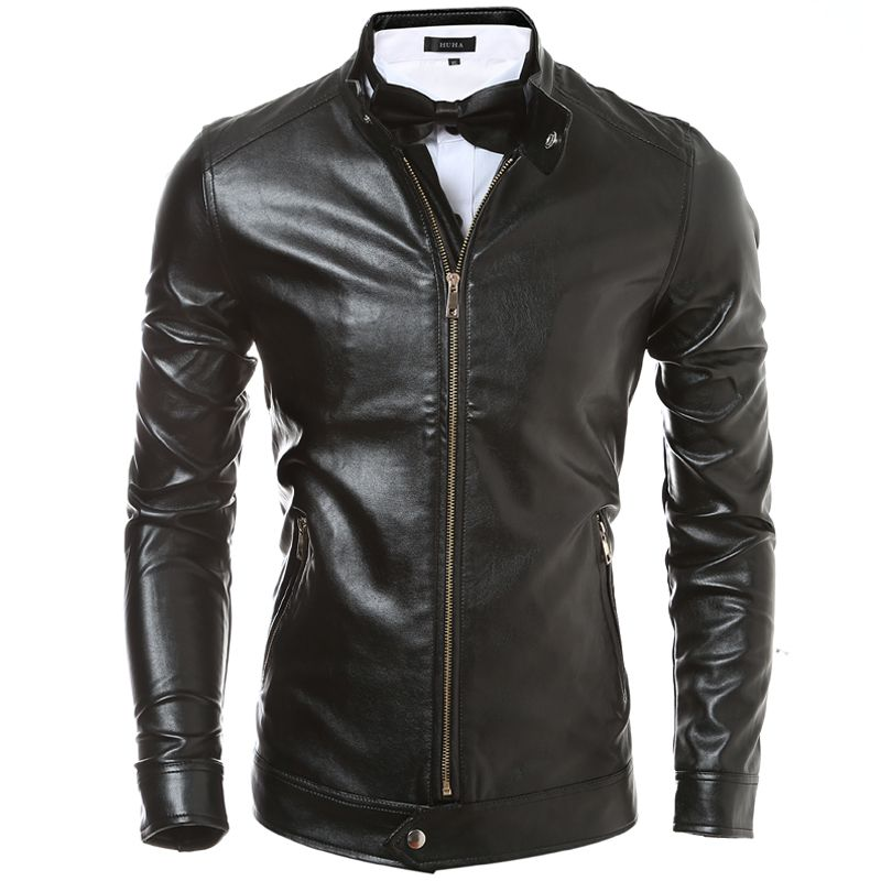 88600a755 Click to Buy << PU Leather Jacket Men 2016 Brand Veste Cuir Homme ...