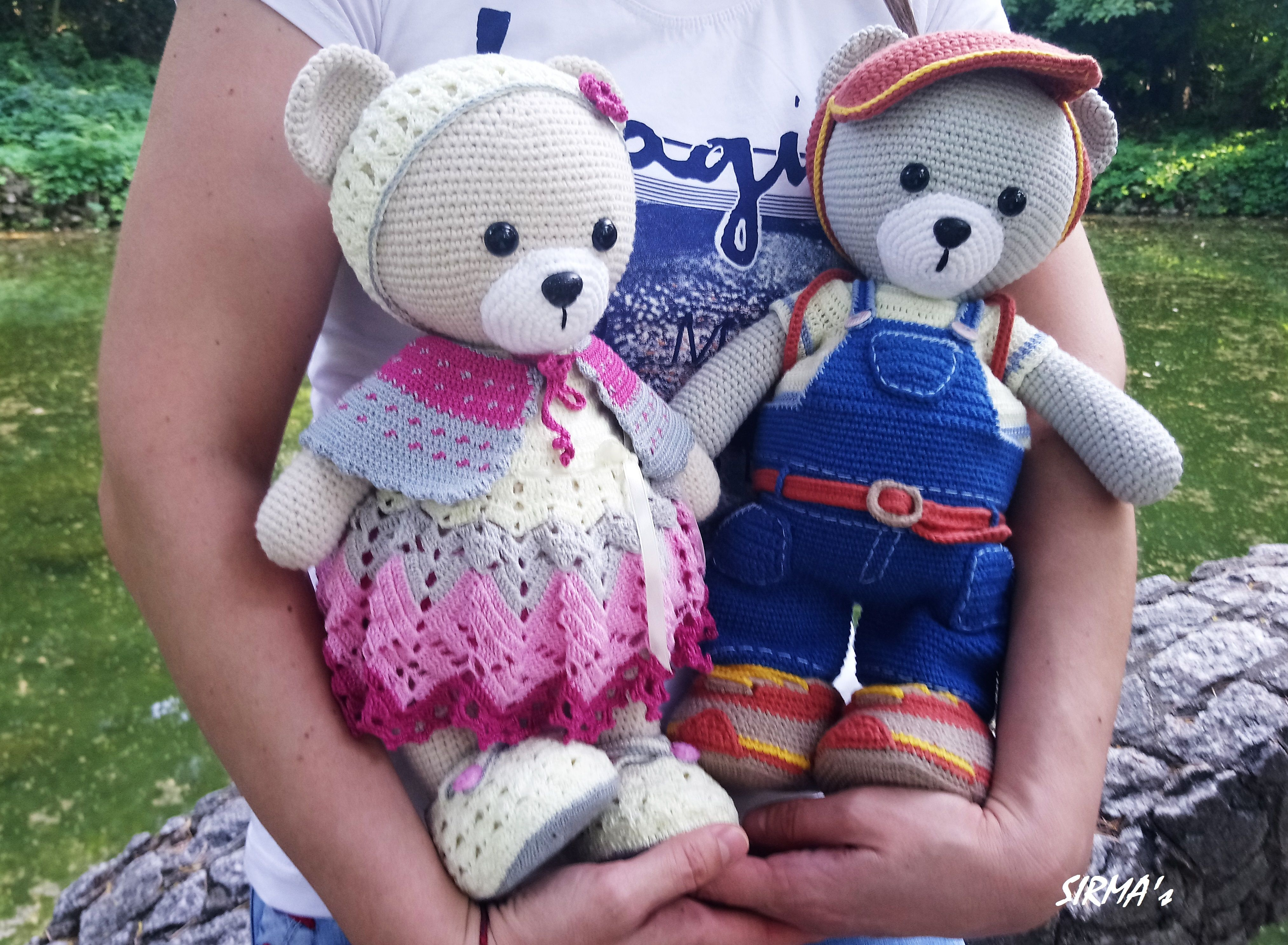 Amazon.com: Crochet Teddy Bear Set, Pink Bear Baby Set: Handmade   2976x4053