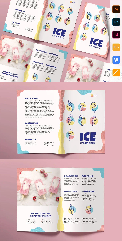 Ice cream shop brochure bifold by ambergraphics on envato