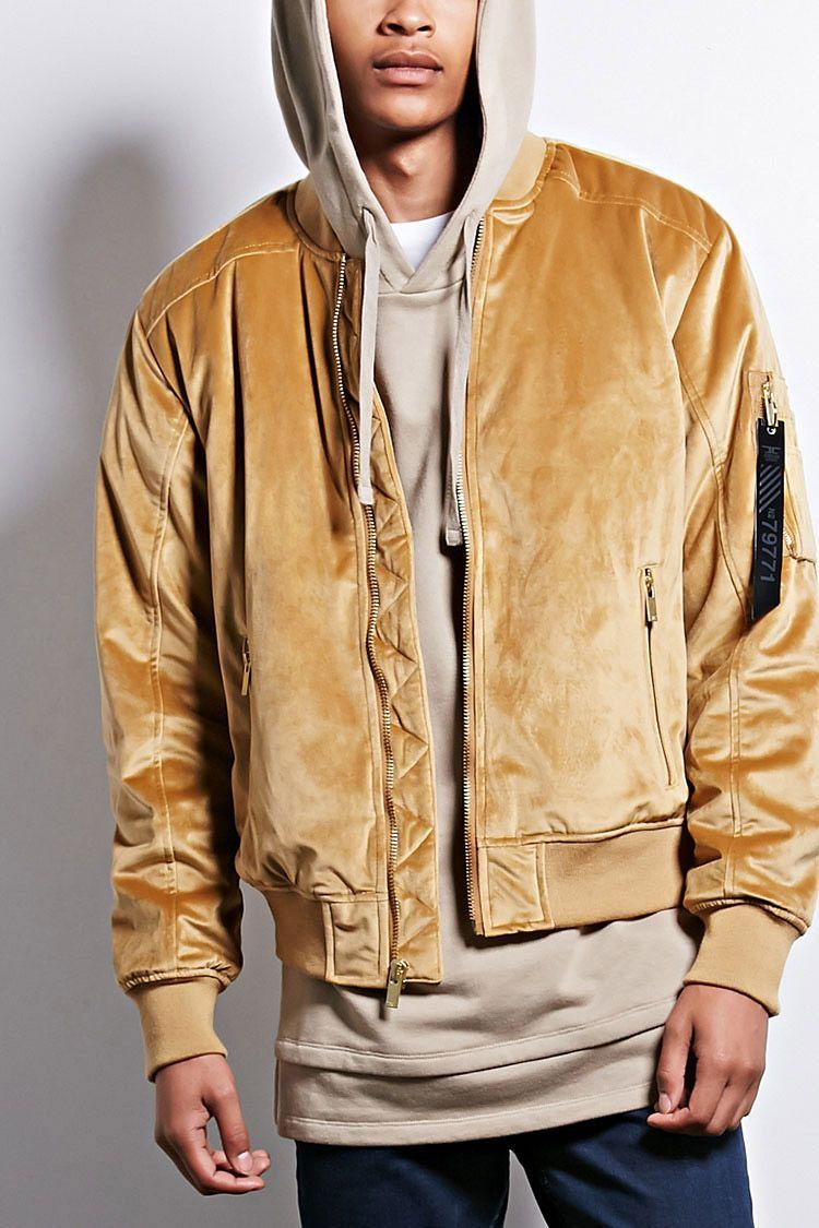979bb153d77 A padded velvet bomber jacket by Jordan Craig™ featuring ribbed knit trim,  a zipper