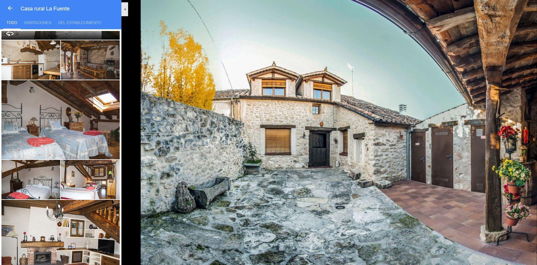 Perfil casa rural Las Fuentes en Google Maps