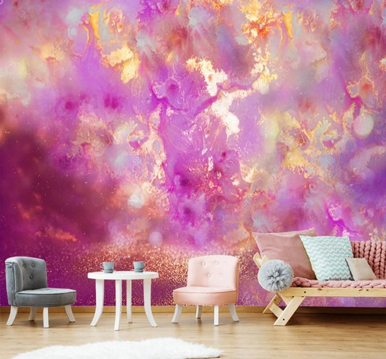 Deep Purple Gold Marble Wallpaper Wall Sticker Decor Ceiling Etsy Gold Marble Wallpaper Wall Wallpaper Marble Wallpaper