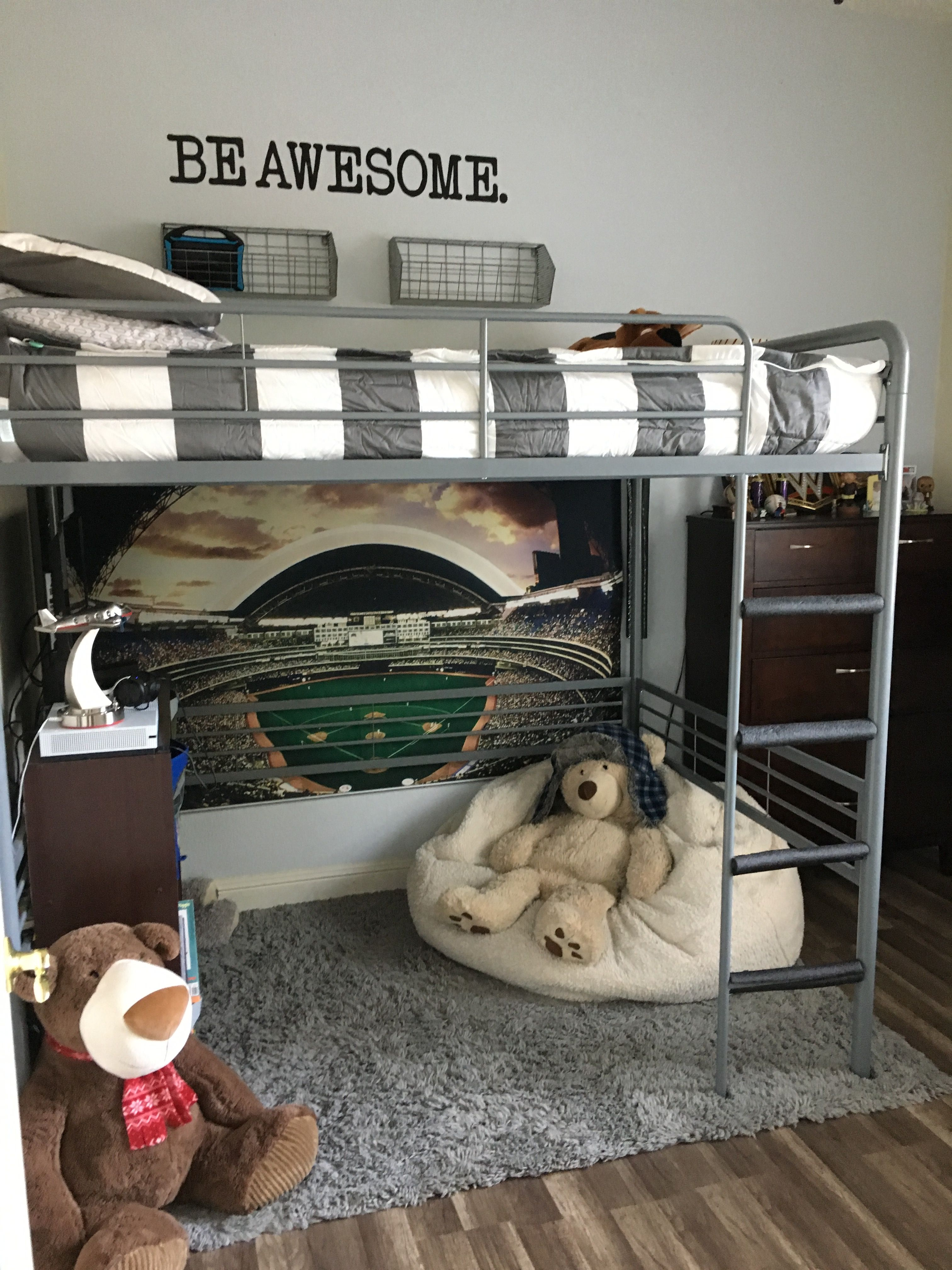 Boys Room With Full Size Loft Bed Adorable Boys Loft Beds