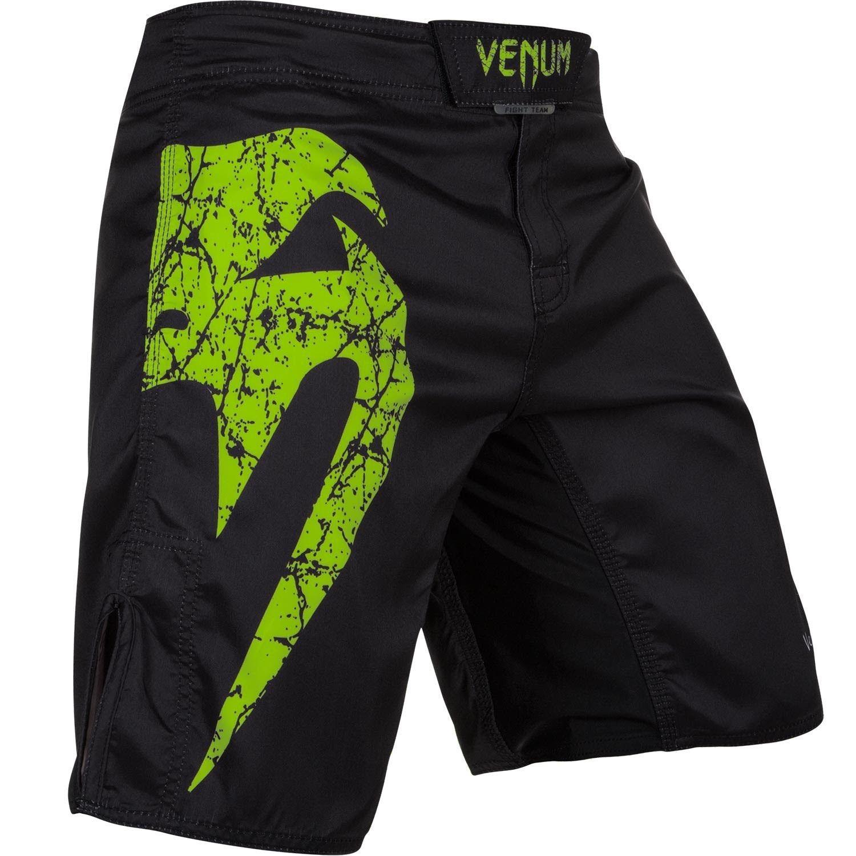 Venum Original Giant Fight Shorts Black Neo Yellow Fight Shorts Mma Shorts Logo Shorts