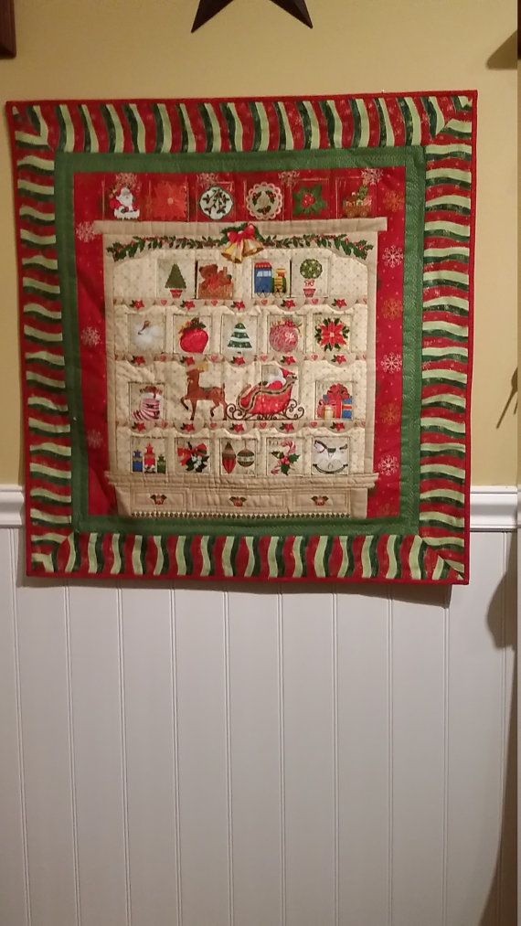 Christmas advent calendar, quilted wall hanging, handmade heirloom ... : handmade quilted wall hangings - Adamdwight.com