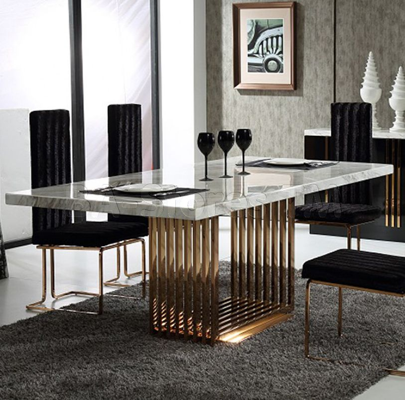 Sale Modrest Kingsley Modern Marble Rosegold Dining Table