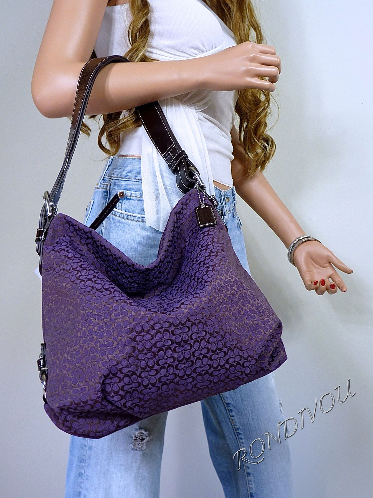 1f718d9d7e74 Coach RARE Purple Medium Signature Hobo Shoulder Crossbody Tote Bag Purse
