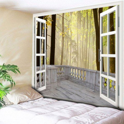 YELLOW Wall Hanging Window Forest Printed Tapestry W59 INCH * L59 ...