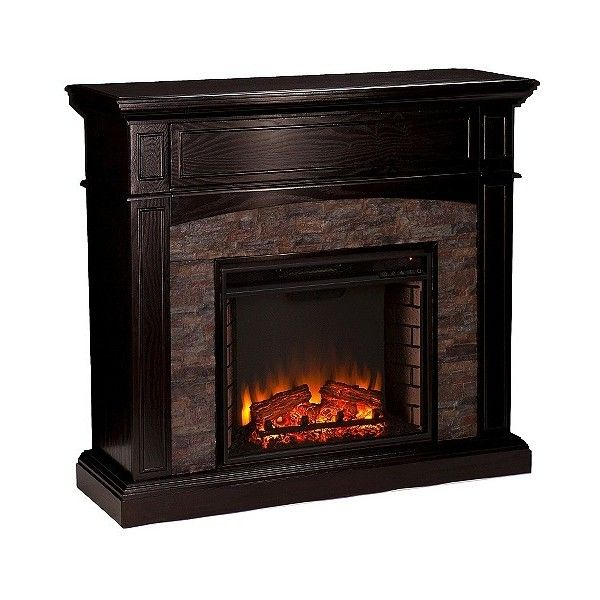 """Decorative Fireplace Ebony Heather \"""" ($550) ❤ liked on Polyvore featuring home, home decor, fireplace accessories, ebony heather, electric fireplace, southern enterprises electric fireplace, black electric fireplace and black home decor"""